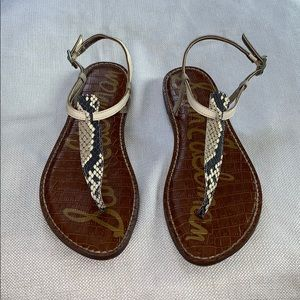 Sam Edelman Size 8 Leather Snakeskin Thong Sandals